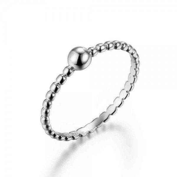 anillo bolitas plata
