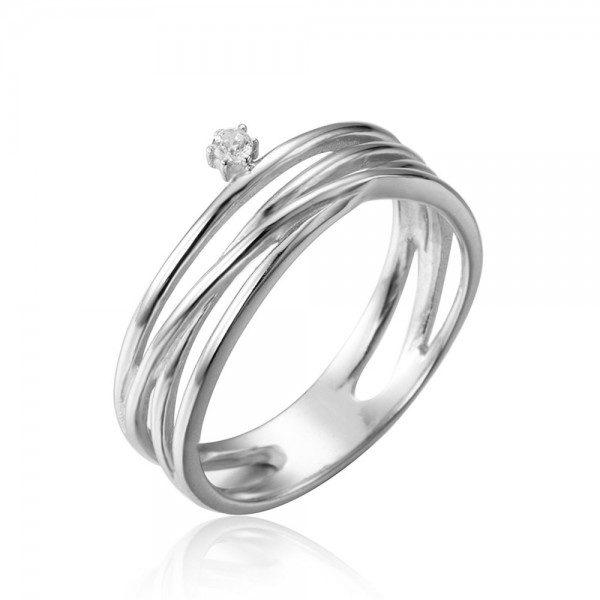 anillo circonita plata