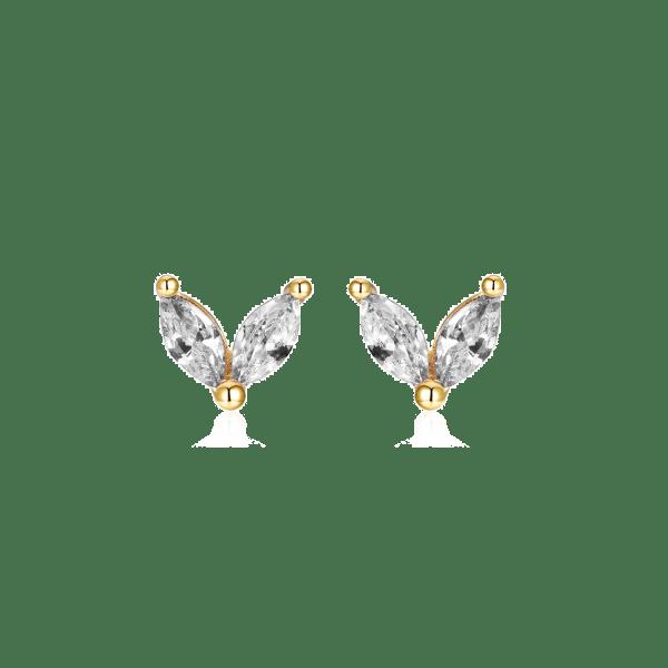 pendientes petalos circonitas