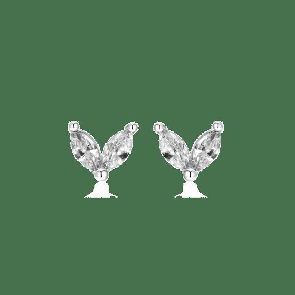 pendientes petalos circonitas plata