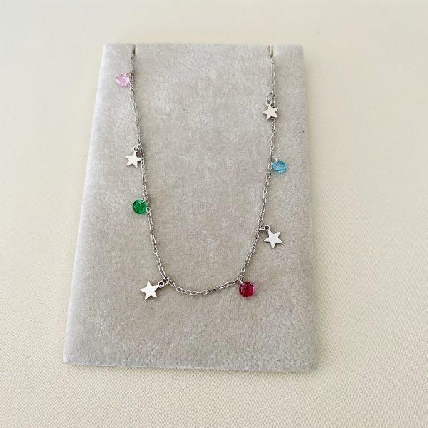 collar colores estrellas plata